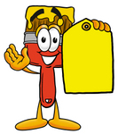 Clip Art Graphic of a Red Paintbrush With Yellow Paint Cartoon Character Holding a Yellow Sales Price Tag
