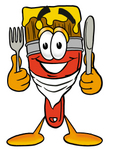 Clip Art Graphic of a Red Paintbrush With Yellow Paint Cartoon Character Holding a Knife and Fork
