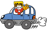 Clip Art Graphic of a Red Paintbrush With Yellow Paint Cartoon Character Driving a Blue Car and Waving