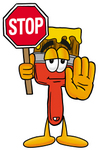 Clip Art Graphic of a Red Paintbrush With Yellow Paint Cartoon Character Holding a Stop Sign