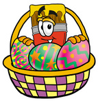 Clip Art Graphic of a Red Paintbrush With Yellow Paint Cartoon Character in an Easter Basket Full of Decorated Easter Eggs