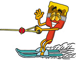 Clip Art Graphic of a Red Paintbrush With Yellow Paint Cartoon Character Waving While Water Skiing
