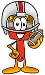 Clip Art Graphic of a Red Paintbrush With Yellow Paint Cartoon Character in a Helmet, Holding a Football