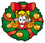 Clip Art Graphic of a Red Paintbrush With Yellow Paint Cartoon Character in the Center of a Christmas Wreath