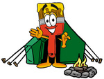 Clip Art Graphic of a Red Paintbrush With Yellow Paint Cartoon Character Camping With a Tent and Fire