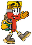 Clip Art Graphic of a Red Paintbrush With Yellow Paint Cartoon Character Hiking and Carrying a Backpack