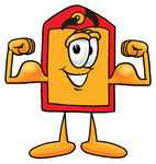 Clip Art Graphic of a Red and Yellow Sales Price Tag Cartoon Character Flexing His Arm Muscles