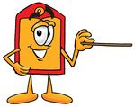 Clip Art Graphic of a Red and Yellow Sales Price Tag Cartoon Character Holding a Pointer Stick