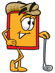 Clip Art Graphic of a Red and Yellow Sales Price Tag Cartoon Character Leaning on a Golf Club While Golfing