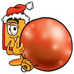 Clip Art Graphic of a Red and Yellow Sales Price Tag Cartoon Character Wearing a Santa Hat, Standing With a Christmas Bauble
