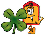 Clip Art Graphic of a Red and Yellow Sales Price Tag Cartoon Character With a Green Four Leaf Clover on St Paddy's or St Patricks Day