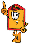 Clip Art Graphic of a Red and Yellow Sales Price Tag Cartoon Character Pointing Upwards
