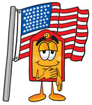 Clip Art Graphic of a Red and Yellow Sales Price Tag Cartoon Character Pledging Allegiance to an American Flag