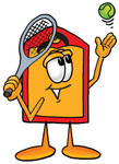 Clip Art Graphic of a Red and Yellow Sales Price Tag Cartoon Character Preparing to Hit a Tennis Ball