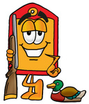 Clip Art Graphic of a Red and Yellow Sales Price Tag Cartoon Character Duck Hunting, Standing With a Rifle and Duck