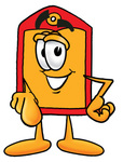 Clip Art Graphic of a Red and Yellow Sales Price Tag Cartoon Character Pointing at the Viewer