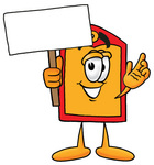 Clip Art Graphic of a Red and Yellow Sales Price Tag Cartoon Character Holding a Blank Sign