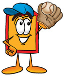 Clip Art Graphic of a Red and Yellow Sales Price Tag Cartoon Character Catching a Baseball With a Glove