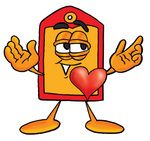 Clip Art Graphic of a Red and Yellow Sales Price Tag Cartoon Character With His Heart Beating Out of His Chest