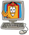 Clip Art Graphic of a Red and Yellow Sales Price Tag Cartoon Character Waving From Inside a Computer Screen