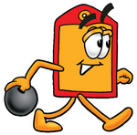 Clip Art Graphic of a Red and Yellow Sales Price Tag Cartoon Character Holding a Bowling Ball