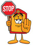 Clip Art Graphic of a Red and Yellow Sales Price Tag Cartoon Character Holding a Stop Sign