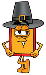 Clip Art Graphic of a Red and Yellow Sales Price Tag Cartoon Character Wearing a Pilgrim Hat on Thanksgiving