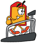 Clip Art Graphic of a Red and Yellow Sales Price Tag Cartoon Character Walking on a Treadmill in a Fitness Gym
