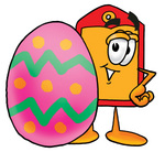 Clip Art Graphic of a Red and Yellow Sales Price Tag Cartoon Character Standing Beside an Easter Egg
