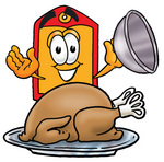 Clip Art Graphic of a Red and Yellow Sales Price Tag Cartoon Character Serving a Thanksgiving Turkey on a Platter