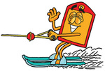 Clip Art Graphic of a Red and Yellow Sales Price Tag Cartoon Character Waving While Water Skiing