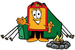 Clip Art Graphic of a Red and Yellow Sales Price Tag Cartoon Character Camping With a Tent and Fire