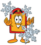 Clip Art Graphic of a Red and Yellow Sales Price Tag Cartoon Character With Three Snowflakes in Winter