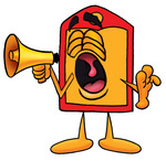 Clip Art Graphic of a Red and Yellow Sales Price Tag Cartoon Character Screaming Into a Megaphone
