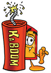Clip Art Graphic of a Red and Yellow Sales Price Tag Cartoon Character Standing With a Lit Stick of Dynamite