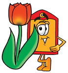 Clip Art Graphic of a Red and Yellow Sales Price Tag Cartoon Character With a Red Tulip Flower in the Spring