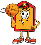 Clip Art Graphic of a Red and Yellow Sales Price Tag Cartoon Character Spinning a Basketball on His Finger