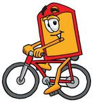Clip Art Graphic of a Red and Yellow Sales Price Tag Cartoon Character Riding a Bicycle