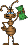 Clip Art Graphic of a Brown Ant Insect Mascot Character Waving a Green Dollar Bill in the Air