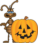 Clip Art Graphic of a Brown Ant Insect Mascot Character Standing Behind a Carved Halloween Pumpkin
