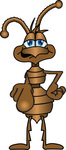 Clip Art Graphic of a Brown Ant Insect Mascot Character Pointing Outwards at the Viewer for Attention or to Blame