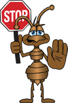 Clip Art Graphic of a Brown Ant Insect Mascot Character Holding a Stop Sign