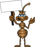Clip Art Graphic of a Brown Ant Insect Mascot Character Waving a Blank White Sign