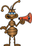 Clip Art Graphic of a Brown Ant Insect Mascot Character Holding a Red Bullhorn or Megaphone