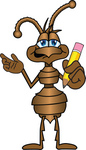 Clip Art Graphic of a Brown Ant Insect Mascot Character Holding a Yellow Number 2 Pencil With an Eraser