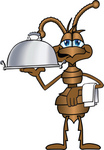 Clip Art Graphic of a Brown Ant Insect Mascot Character Carring a Napkin on His Wrist and a Platter With the Other Hand While Serving a Platter