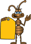 Clip Art Graphic of a Brown Ant Insect Mascot Character Holding a Yellow Sales Price Tag