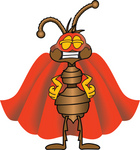 Clip Art Graphic of a Brown Ant Insect Mascot Character Dressed as a Super Hero