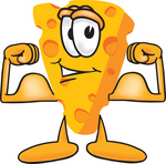 Clip Art Graphic of a Swiss Cheese Wedge Mascot Character Flexing His Arm Muscles