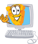Clip Art Graphic of a Swiss Cheese Wedge Mascot Character Waving From Inside a Computer Screen